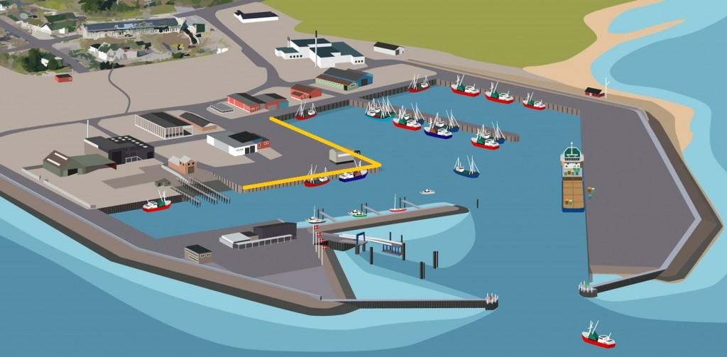 Tegning af havnen - lystfiskeri
